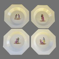 Set of Four (4) Octagonal Creamware French Plates 18th Century Scenes