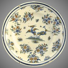 French Faience Blue and White Charger with Exotic Birds