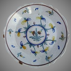 French Faience Polychrome Plate Charger c1900