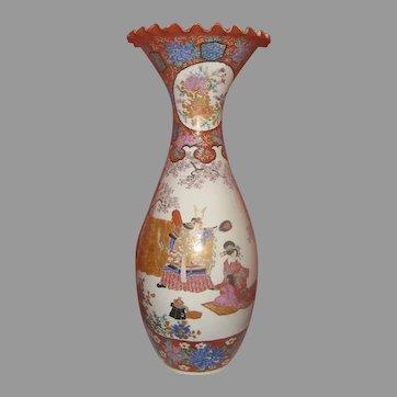 "Very Large Vintage Older Satsuma Vase Warriors 29 1/2"" Tall"