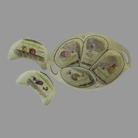 Charcuterie Platter and Plates Italian Hand Painted Sectioned Tray and Crescent Plate Wine Appetizer Tray