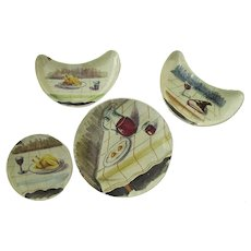 Group of 4 Pieces Hand Painted Italian Pottery Wine Cheese