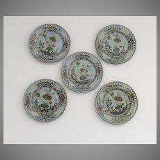 Set of 5 Reticulated Plates Cantagalli Garofano Pattern 1940's Italian Italy Faience