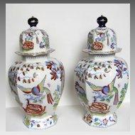 Pair of Large Mason's Ironstone Lidded Vases Urns Flying Bird