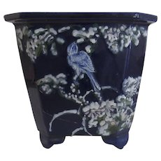19th Century Deep Blue Chinese Jardiniere Pot Planter with Raised Bird Prunus Motif