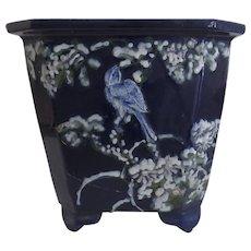 19th Century Deep Blue Chinese Jardiniere Pot Planter with Raised Bird Prunus Motif