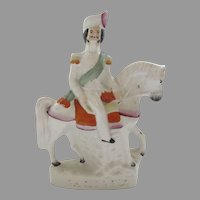 Staffordshire Figure Horse Rider Sir Campbell Mid 19th Century P.1207