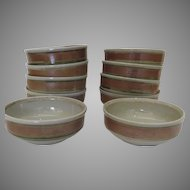 """10 x Vintage """"WHISPERING PINES"""" Iron Mountain Stoneware Cereal Soup Bowls"""