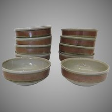 "10 x Vintage ""WHISPERING PINES"" Iron Mountain Stoneware Cereal Soup Bowls"