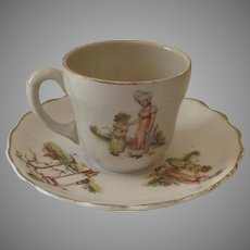 Vintage Globe China Child's Cup Saucer Kate Greenway