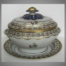 Chinese Export Soup Tureen and Stand Famille Rose