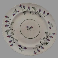 19th Century Hand Painted Creamware Plate with Delicate Floral Motif