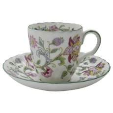 Vintage Minton Demitasse Cup and Saucer Haddon Hall Pattern