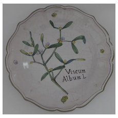 New Old Stock Italian Hand Painted Botanical Plate Faience N. D. Dolfi Italy
