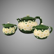 Vintage Haldon Group 1988 Raised Daisy Pattern Majolica Three Piece Tea Set