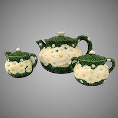 Vintage Haldon Group 1988 Raised Daisy Pattern Majolica Three Piece Tea Set