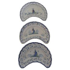 3 x Henriot Quimper Faience Cresent Bone/Salad Plates c 1920
