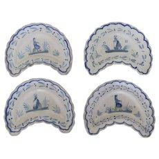 4 x Henriot Quimper Faience Cresent Bone/Salad Plates c 1920