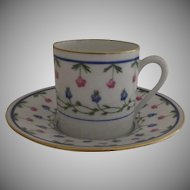"Vintage 1960's 3 x Raynaud Ceralene Limoges France Porcelain Espresso Cups and Saucers ""Lafayette"""