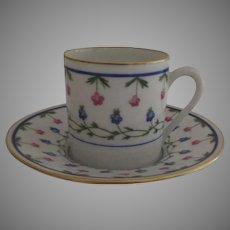 "Vintage 1960's 3 x Raynaud Ceralene Limoges France Porcelain Espresso Cups and Saucers ""Lafayette"""