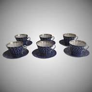 Set of Six (6) Vintage (1990's) Lomonosov Russian Porcelain Cups & Saucers Cobalt & White Peacock Pattern