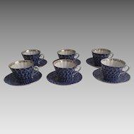 Set of Six (6) Vintage (1990's) Lomonosov Russian Porcelain Cups & Saucers Cobalt & White Peacock Pattern