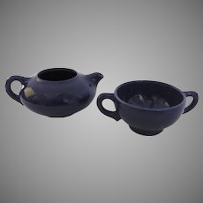 """Vintage Small Mid Century Pottery Dark Navy Blue Creamer and Sugar Made in USA Franciscan Pottery El Patio Gladding-McBean Art Pottery """"Teapot & Saucer"""""""