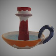 Vintage Italian Faience Candlestick Candle Holder Chamberstick Neiman Marcus  La Muse