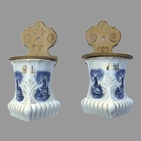 Two German Blue and White Salt and Flour Wall Canisters c 1900