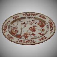 "Vintage Spode India Indian Tree Rust Oval Platter 13"" by 10"" Older Mark"