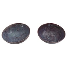 Pair of Vintage Pottery Half Glazed Footed Bowls Beautiful Glaze Blues Reds