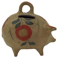 Vintage 1950's Mexican Mexico Tlaquepaque Painted Pottery Piggy Pig Bank