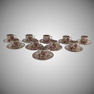 10 x Vintage Spode India Indian Tree Rust Demitasse Cups and Saucers