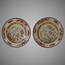 """2 x Vintage Spode India Indian Tree Rust Luncheon Salad Plates 8 7/8"""" Older Mark"""