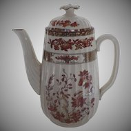 Vintage Spode India Indian Tree Rust Tall Coffee Pot Curved Spout Older Mark