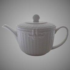 Vintage 1980's Nantucket White Basket Weave Tea Pot