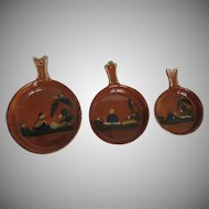 Vintage Set of Three Tlaquepaque Mexican Dishes Pans Casseroles Nesting