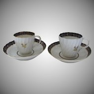Pair Two Worcester Cups Saucers c 1780