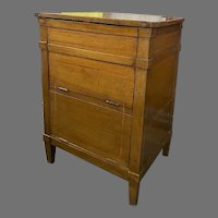 French Lift Top Walnut Commode Side Table 19th Century Inlaid Line