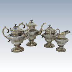 Four Piece American Coin Silver Tea Coffee Set c 1840 Gale, Wood, & Hughes New York