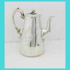 English Sterling Silver Coffee Pot Engraved Armorial c 1844