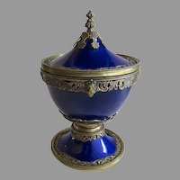 Gorgeous Cup Urn Lidded English Cobalt Enamel and Vermeil Hallmarked London 1889