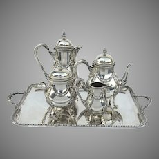 French Hallmarked Silver Tea Set and Tray