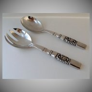 Pair Sterling Georg Jensen Salad Servers Sterling Scroll Pattern
