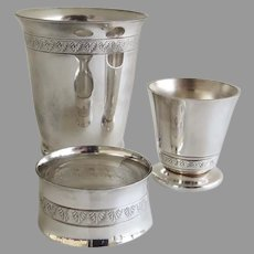 Vintage Silver Plated Child's Youth Set Napkin Ring, Egg Cup, and Cup Acanthus Leaf