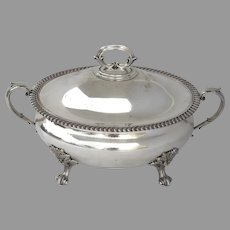 English Early Old Sheffield Plate Oval Footed Tureen