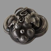 Vintage Sterling Silver Small Brooch Pin Quardrafoil with Flower and Foliage Motif