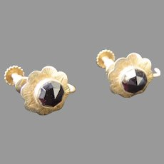 Pair of 19th Century Gold and Garnet Earrings