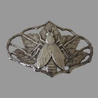 Sterling Sliver Winged Insect Fly Brooch Pin