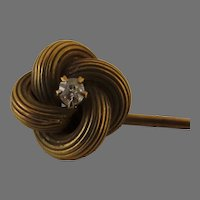 1900's Gold with Diamond Knot Stick Pin